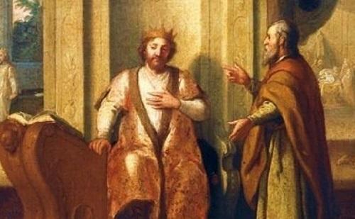 """David and Nathan"", Matthias Scheitts, 1672"